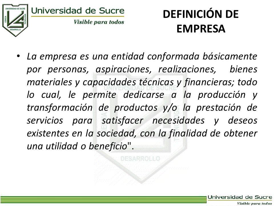 DEFINICIÓN DE EMPRESA La empresa es una entidad conformada básicamente por personas, aspiraciones, realizaciones, bienes materiales y capacidades técn