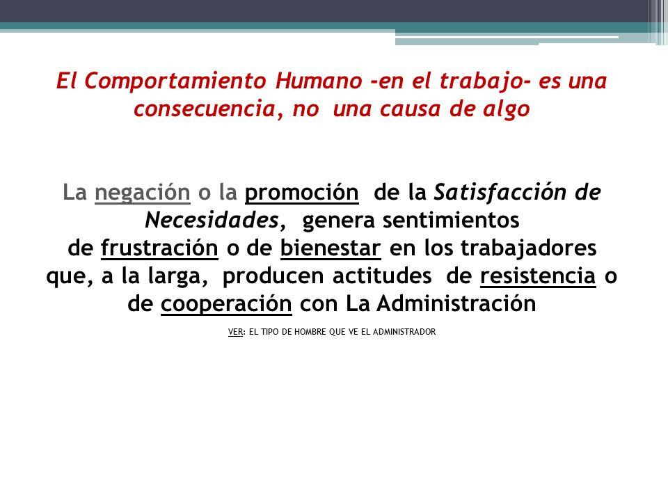 El Comportamiento Humano -en el trabajo- es una consecuencia, no una causa de algo La negación o la promoción de la Satisfacción de Necesidades, gener