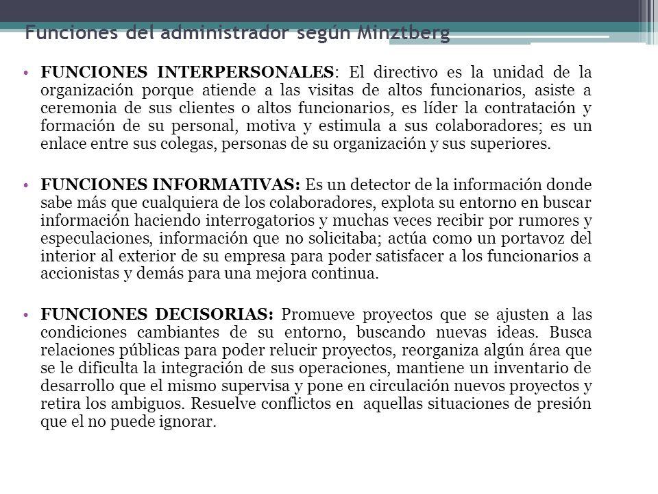 Funciones del administrador según Minztberg FUNCIONES INTERPERSONALES: El directivo es la unidad de la organización porque atiende a las visitas de al