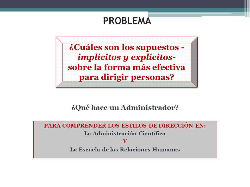 PROBLEMA PARA COMPRENDER LOS ESTILOS DE DIRECCIÓN EN: La Administración Científica Y La Escuela de las Relaciones Humanas ¿Cuáles son los supuestos -