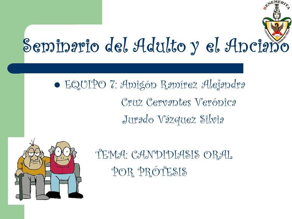 Seminario del Adulto y el Anciano EQUIPO 7: Amigón Ramírez Alejandra Cruz Cervantes Verónica Jurado Vázquez Silvia TEMA: CANDIDIASIS ORAL POR PRÓTESIS