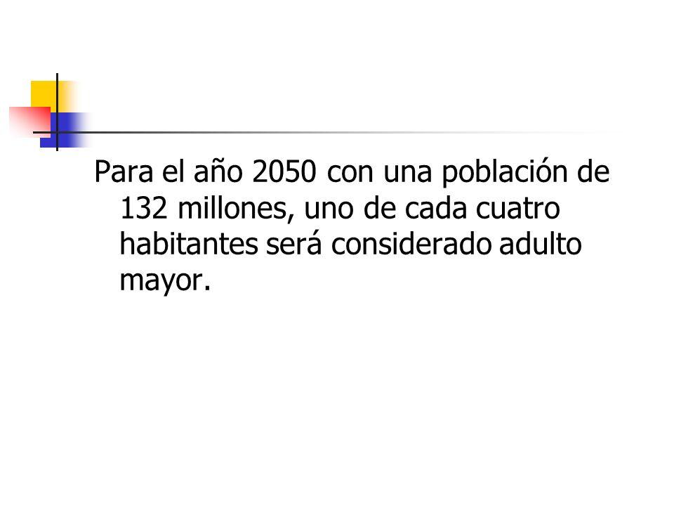 Para el año 2050 con una población de 132 millones, uno de cada cuatro habitantes será considerado adulto mayor.