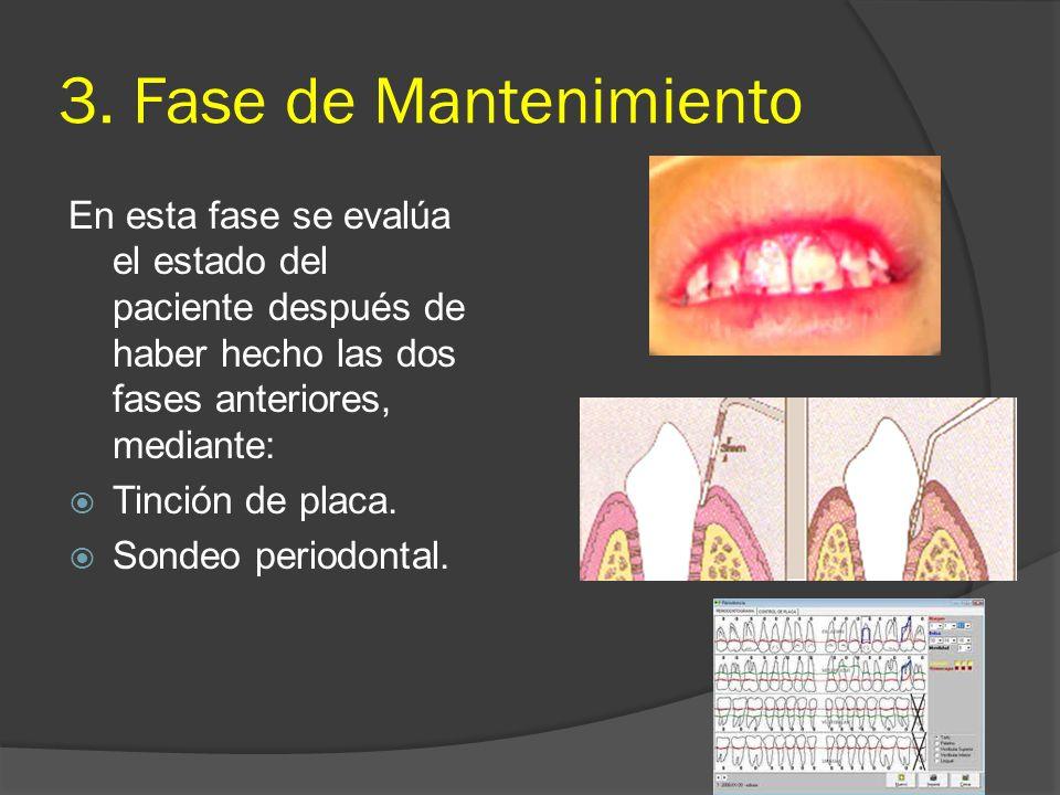 3. Fase de Mantenimiento En esta fase se evalúa el estado del paciente después de haber hecho las dos fases anteriores, mediante: Tinción de placa. So