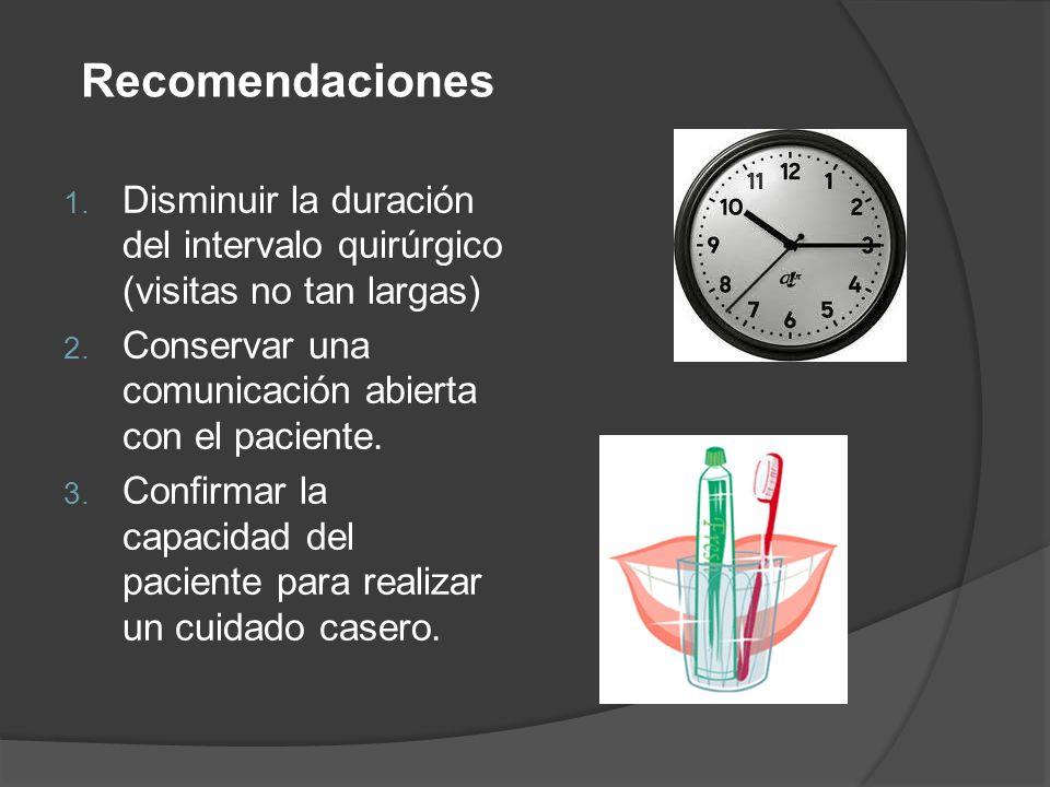1. Disminuir la duración del intervalo quirúrgico (visitas no tan largas) 2. Conservar una comunicación abierta con el paciente. 3. Confirmar la capac
