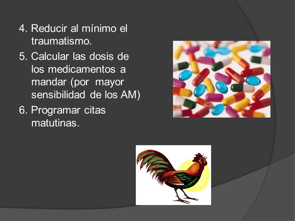 4. Reducir al mínimo el traumatismo. 5. Calcular las dosis de los medicamentos a mandar (por mayor sensibilidad de los AM) 6. Programar citas matutina