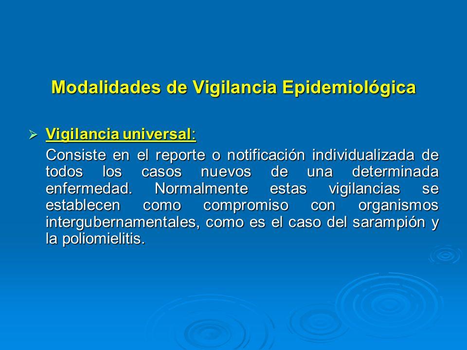 Modalidades de Vigilancia Epidemiológica Vigilancia universal: Vigilancia universal: Consiste en el reporte o notificación individualizada de todos lo