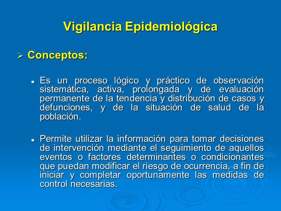 Vigilancia Epidemiológica Conceptos: Conceptos: Es un proceso lógico y práctico de observación sistemática, activa, prolongada y de evaluación permane