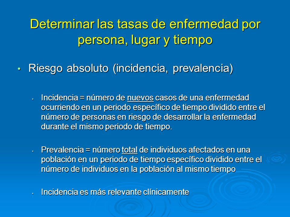 Identificar los factores de riesgo para la enfermedad: Riesgo relativo (RR), razón de momios (RM) Riesgo relativo (RR), razón de momios (RM) RR = razón de incidencia de la enfermedad en individuos expuestos y la incidencia de la enfermedad en individuos no expuestos (de un estudio cohorte/prospectivo) RR = razón de incidencia de la enfermedad en individuos expuestos y la incidencia de la enfermedad en individuos no expuestos (de un estudio cohorte/prospectivo) Si RR > 1, hay una asociación positivaSi RR > 1, hay una asociación positiva Si RR < 1, hay una asociación negativaSi RR < 1, hay una asociación negativa RM = razón de momio de que casos estuvieron expuestos y de que controles estuvieron expuestos (de un estudio casos-controles/retrospectivo), es una estimación del RR RM = razón de momio de que casos estuvieron expuestos y de que controles estuvieron expuestos (de un estudio casos-controles/retrospectivo), es una estimación del RR La interpretación es la misma que para RRLa interpretación es la misma que para RR