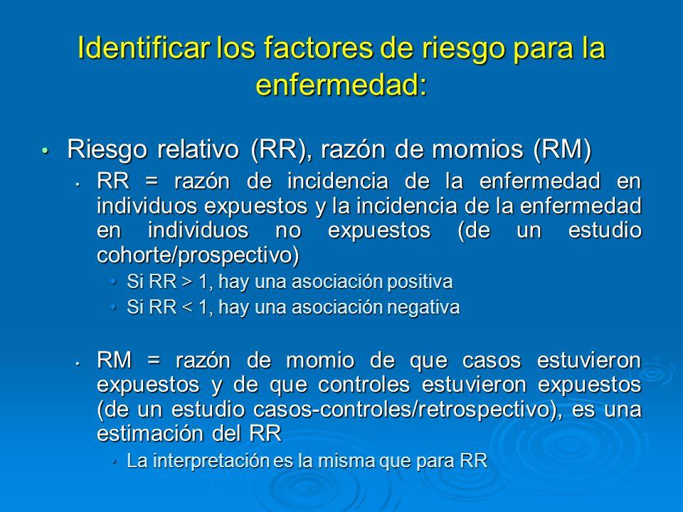 Desarrollar formas para la prevención de la enfermedad: Riesgo (RA) /fracción (FA) atribuible Riesgo (RA) /fracción (FA) atribuible RA = la cantidad de incidencia de enfermedad que puede atribuirse a una exposición específica RA = la cantidad de incidencia de enfermedad que puede atribuirse a una exposición específica Diferencia en incidencia de la enfermedad entre individuos expuestos y no expuestosDiferencia en incidencia de la enfermedad entre individuos expuestos y no expuestos Incidencia en no expuestos = riesgo antecedenteIncidencia en no expuestos = riesgo antecedente Cantidad de riesgo que puede prevenirseCantidad de riesgo que puede prevenirse FA = la proporción de la incidencia de la enfermedad que puede ser atribuida a una exposición específica (entre los que estuvieron expuestos) FA = la proporción de la incidencia de la enfermedad que puede ser atribuida a una exposición específica (entre los que estuvieron expuestos) RA dividido entre la incidencia en expuestos x 100%RA dividido entre la incidencia en expuestos x 100%