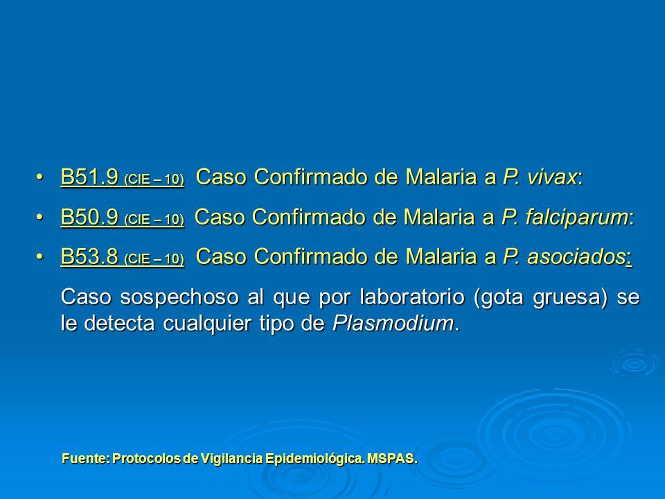 B51.9 (CIE – 10) Caso Confirmado de Malaria a P. vivax:B51.9 (CIE – 10) Caso Confirmado de Malaria a P. vivax: B50.9 (CIE – 10) Caso Confirmado de Mal
