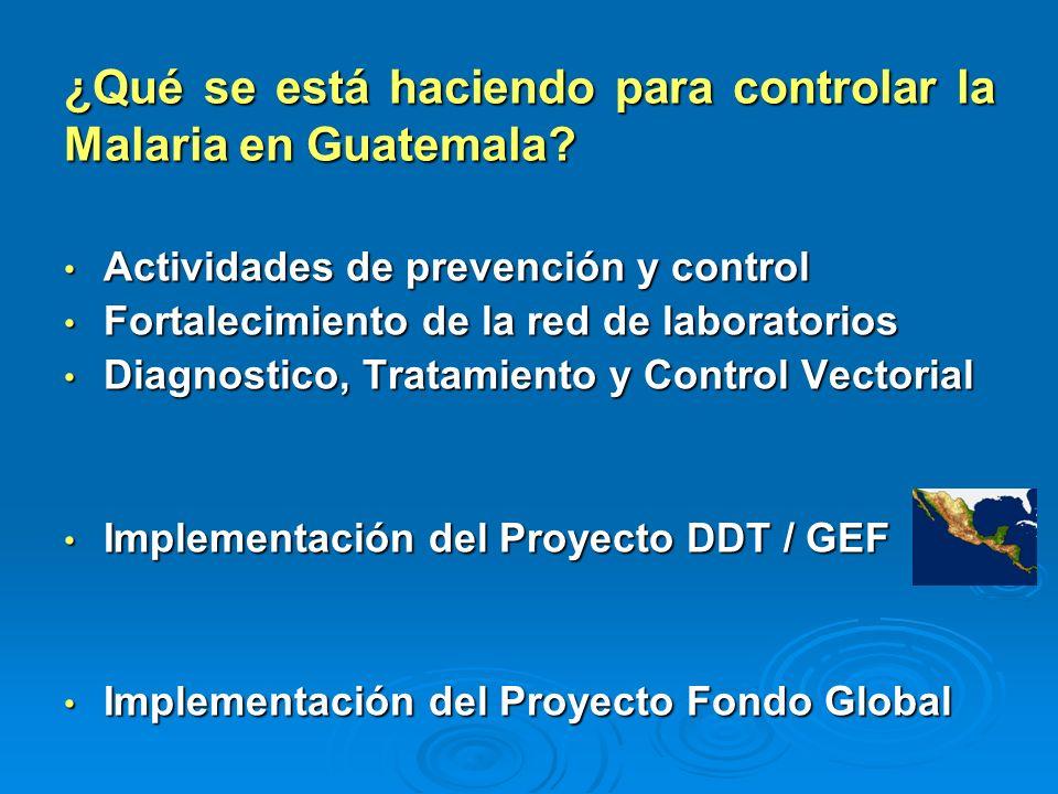 ¿Qué se está haciendo para controlar la Malaria en Guatemala? Actividades de prevención y control Actividades de prevención y control Fortalecimiento