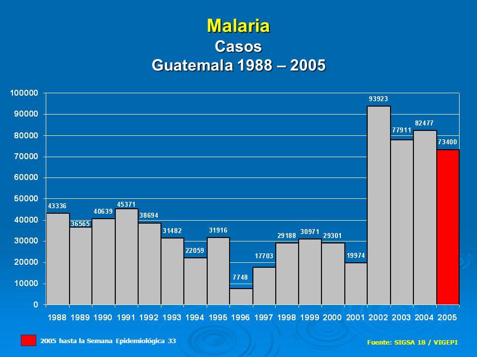 Malaria Casos Guatemala 1988 – 2005 Fuente: SIGSA 18 / VIGEPI 2005 hasta la Semana Epidemiológica 33