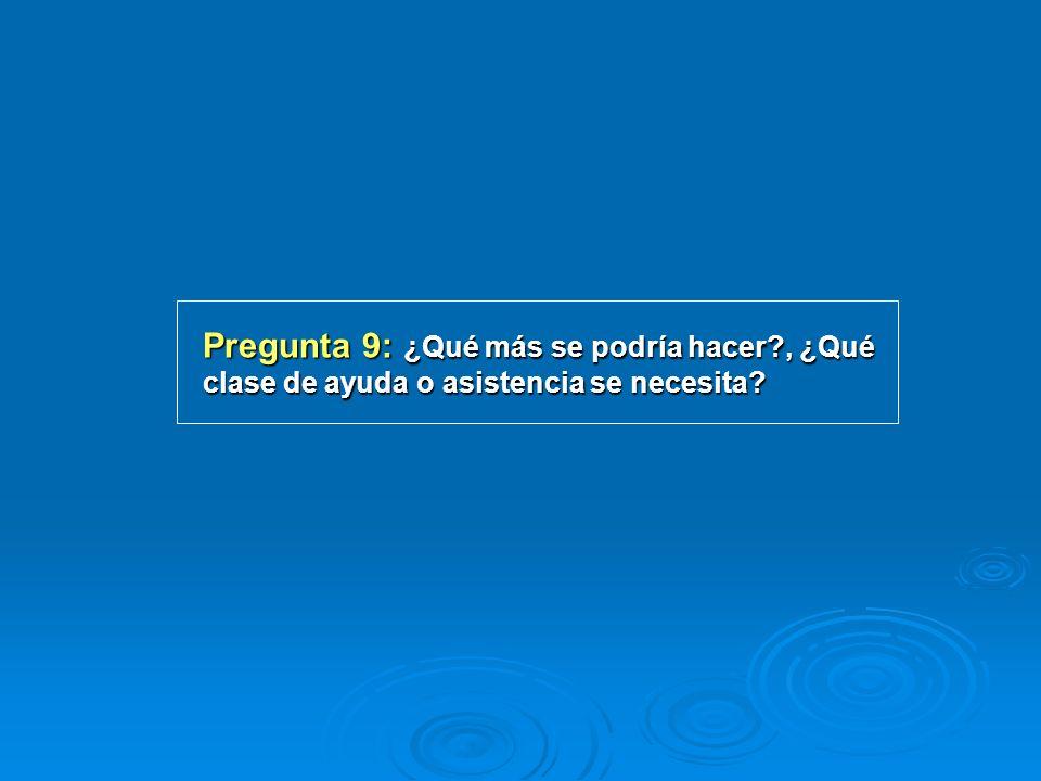 Pregunta 9: ¿Qué más se podría hacer?, ¿Qué clase de ayuda o asistencia se necesita?