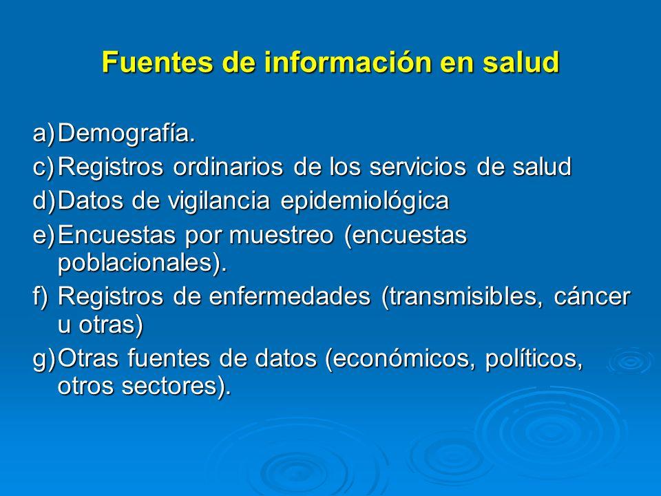 Fuentes de información en salud a)Demografía. c)Registros ordinarios de los servicios de salud d)Datos de vigilancia epidemiológica e)Encuestas por mu