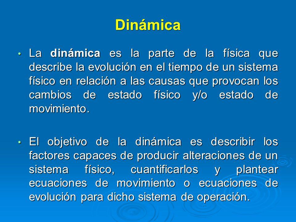Dinámica La dinámica es la parte de la física que describe la evolución en el tiempo de un sistema físico en relación a las causas que provocan los ca