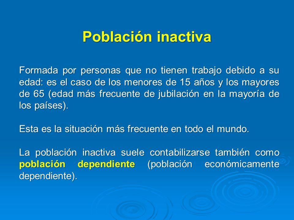Población inactiva Formada por personas que no tienen trabajo debido a su edad: es el caso de los menores de 15 años y los mayores de 65 (edad más fre