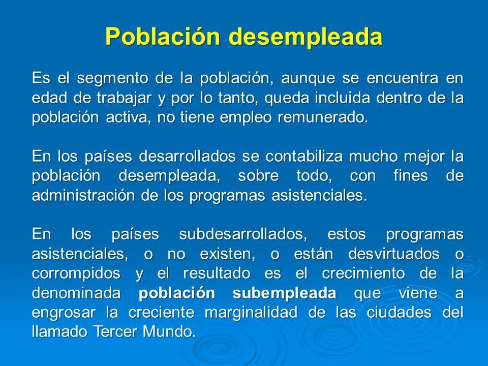 Población desempleada Es el segmento de la población, aunque se encuentra en edad de trabajar y por lo tanto, queda incluida dentro de la población ac