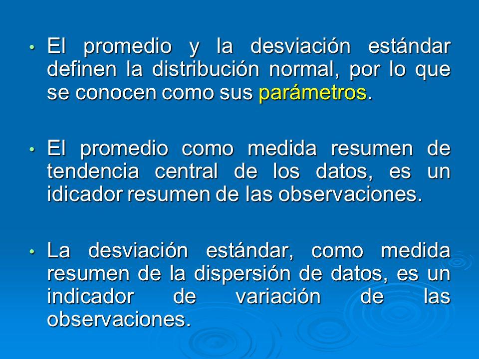 El promedio y la desviación estándar definen la distribución normal, por lo que se conocen como sus parámetros. El promedio y la desviación estándar d