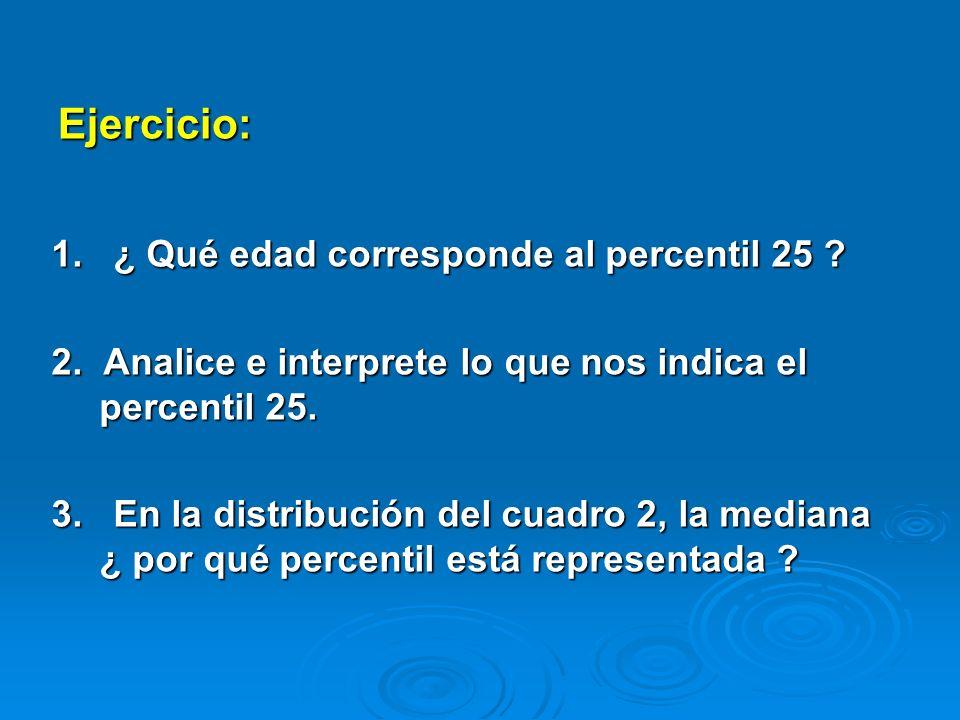 Ejercicio: 1. ¿ Qué edad corresponde al percentil 25 ? 2. Analice e interprete lo que nos indica el percentil 25. 3. En la distribución del cuadro 2,