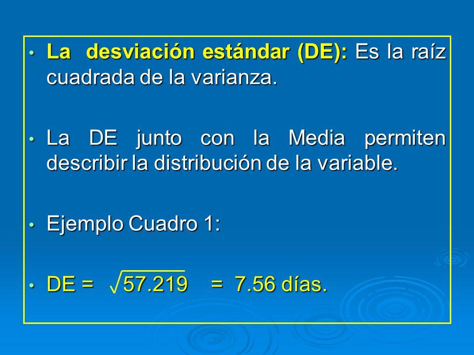 La desviación estándar (DE): Es la raíz cuadrada de la varianza. La desviación estándar (DE): Es la raíz cuadrada de la varianza. La DE junto con la M