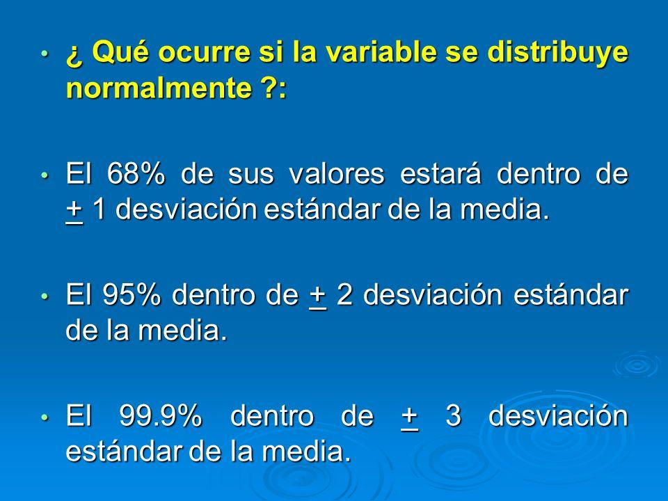 ¿ Qué ocurre si la variable se distribuye normalmente ?: ¿ Qué ocurre si la variable se distribuye normalmente ?: El 68% de sus valores estará dentro