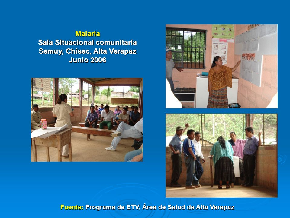 Malaria Sala Situacional comunitaria Semuy, Chisec, Alta Verapaz Junio 2006 Fuente: Programa de ETV, Área de Salud de Alta Verapaz