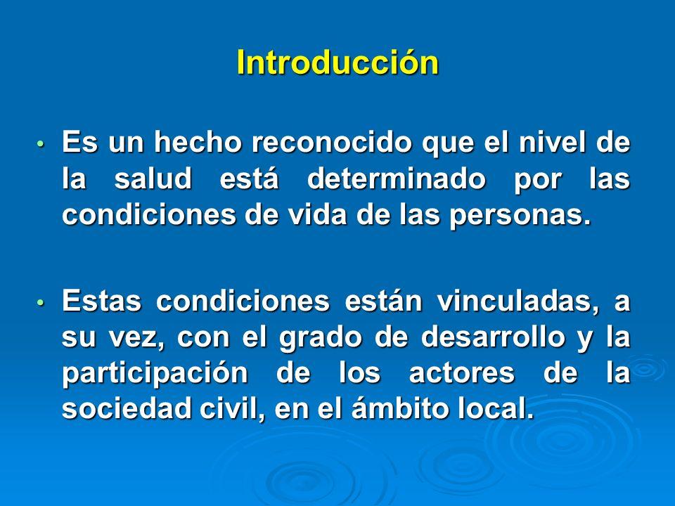 Introducción Es un hecho reconocido que el nivel de la salud está determinado por las condiciones de vida de las personas. Es un hecho reconocido que