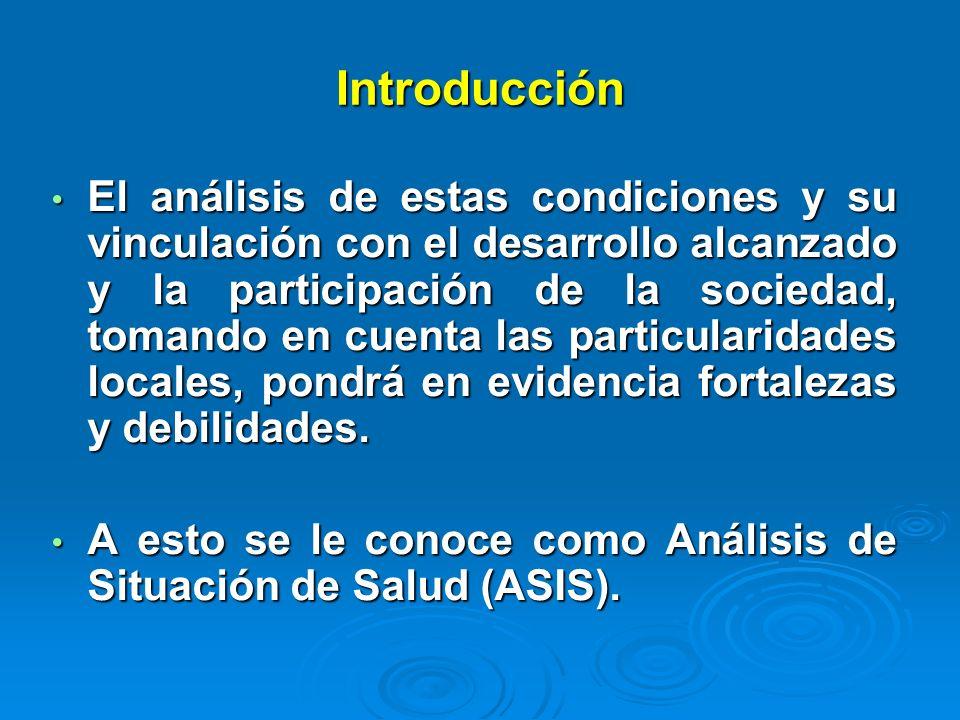 Introducción El análisis de estas condiciones y su vinculación con el desarrollo alcanzado y la participación de la sociedad, tomando en cuenta las pa