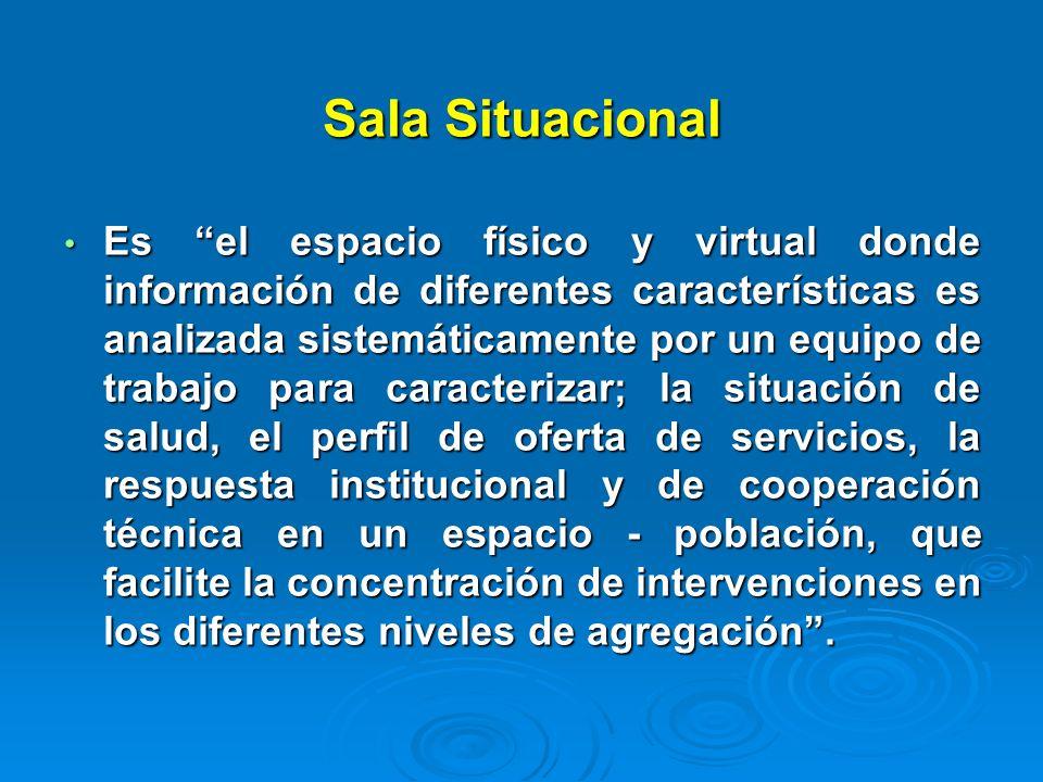 Sala Situacional Es el espacio físico y virtual donde información de diferentes características es analizada sistemáticamente por un equipo de trabajo