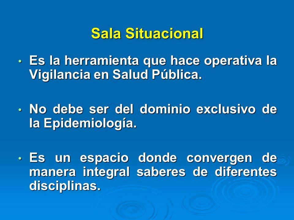 Sala Situacional Es la herramienta que hace operativa la Vigilancia en Salud Pública. Es la herramienta que hace operativa la Vigilancia en Salud Públ
