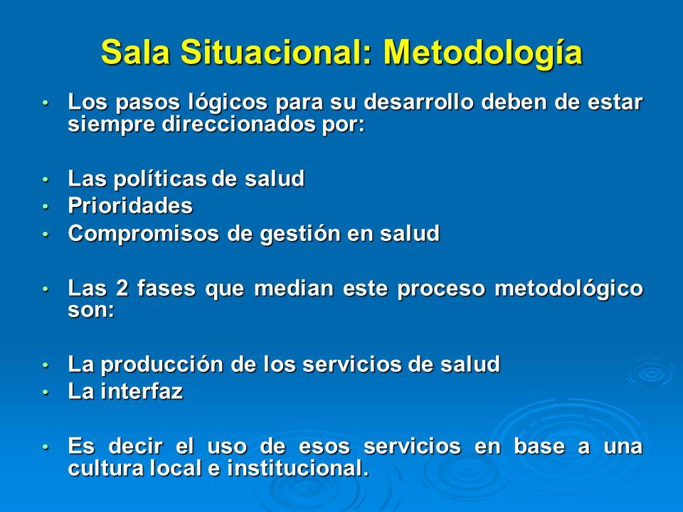 Sala Situacional: Metodología Los pasos lógicos para su desarrollo deben de estar siempre direccionados por: Los pasos lógicos para su desarrollo debe