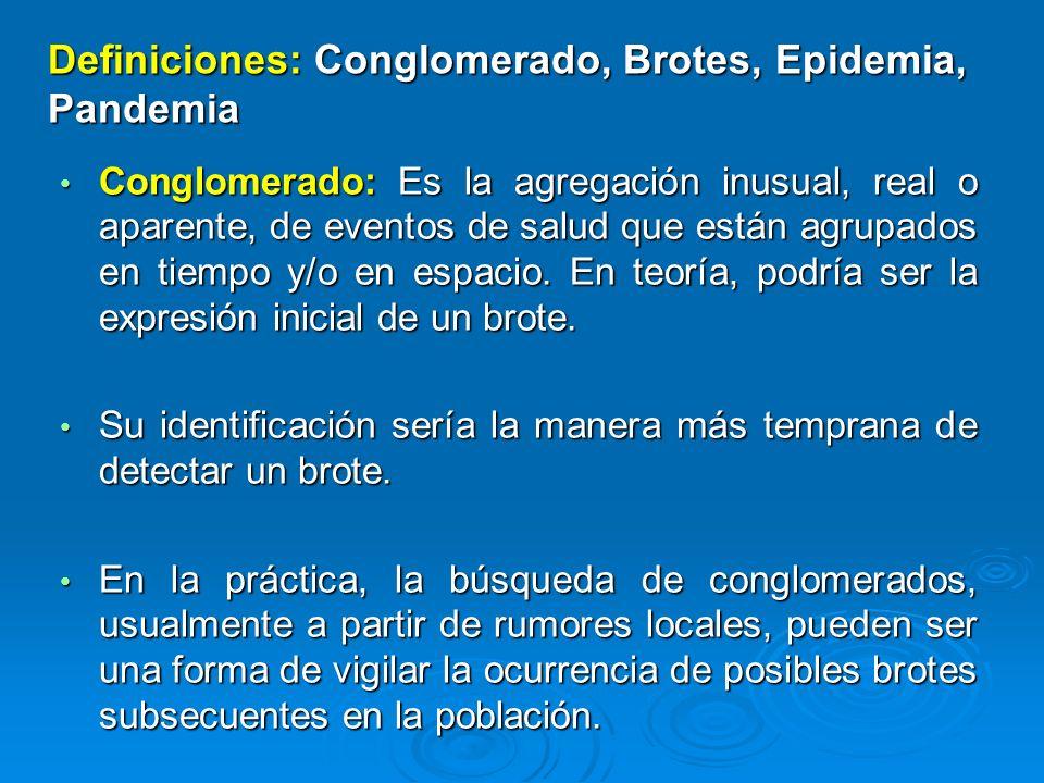Conglomerado: Es la agregación inusual, real o aparente, de eventos de salud que están agrupados en tiempo y/o en espacio. En teoría, podría ser la ex