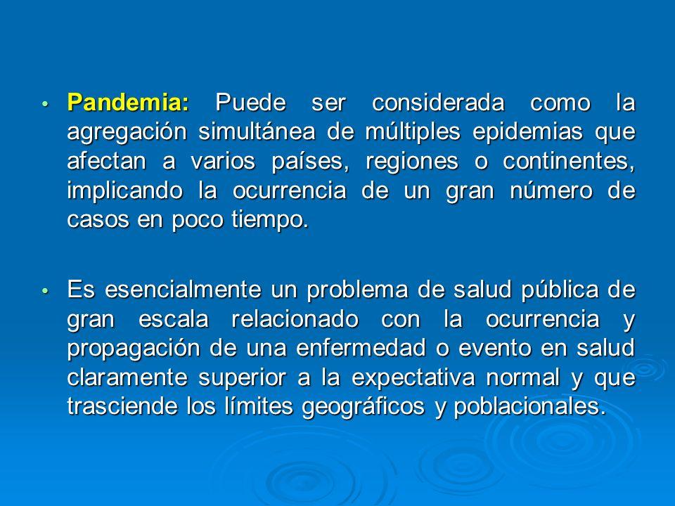 Pandemia: Puede ser considerada como la agregación simultánea de múltiples epidemias que afectan a varios países, regiones o continentes, implicando l