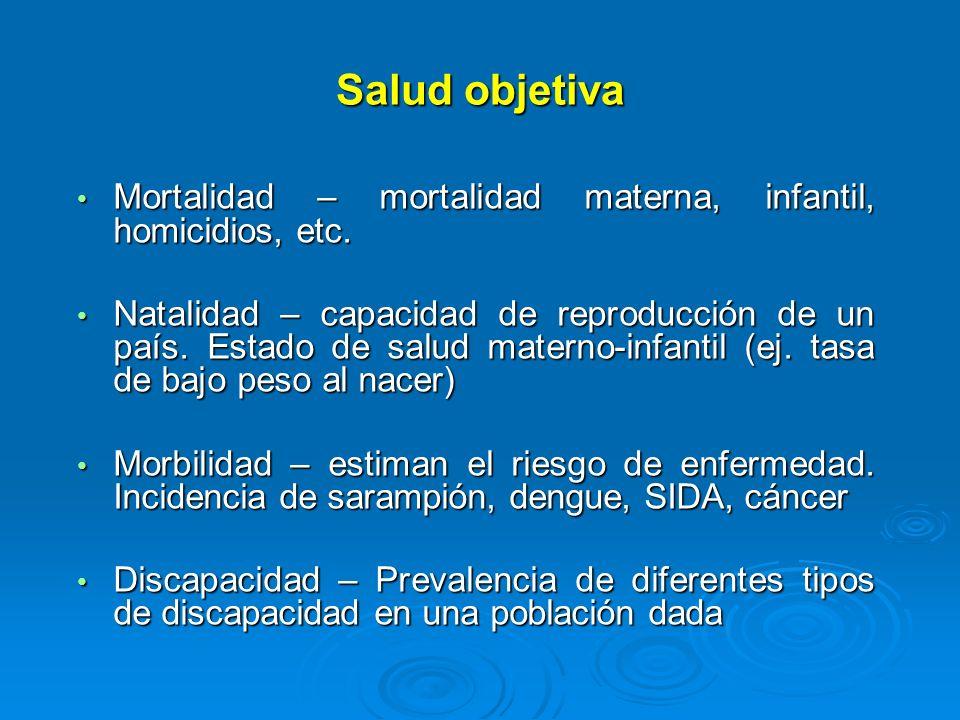 Salud objetiva Mortalidad – mortalidad materna, infantil, homicidios, etc. Mortalidad – mortalidad materna, infantil, homicidios, etc. Natalidad – cap