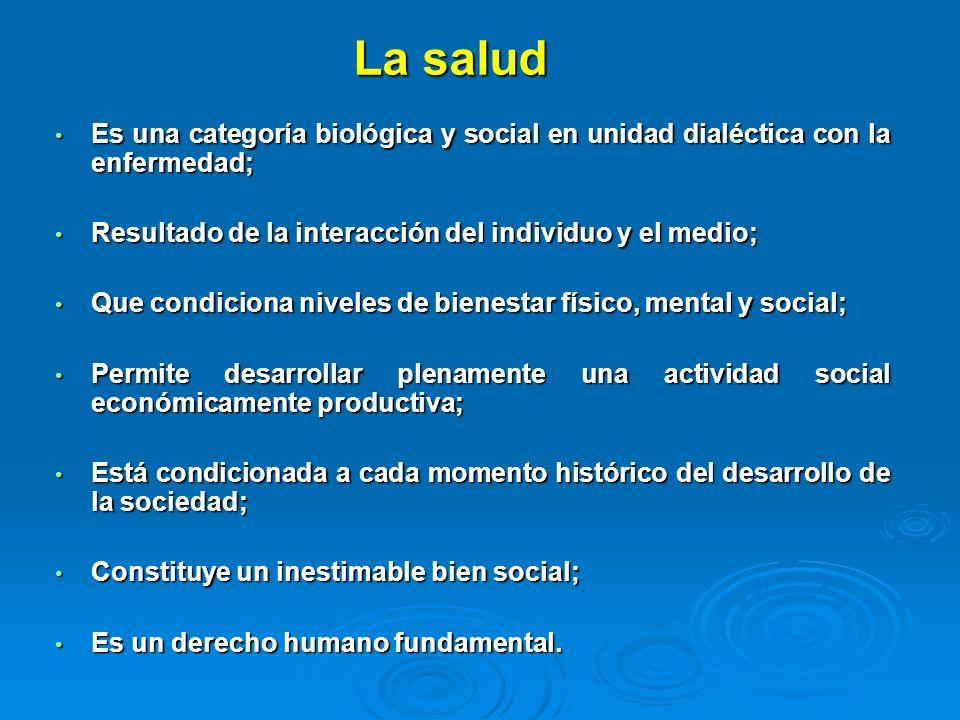 La salud Es una categoría biológica y social en unidad dialéctica con la enfermedad; Es una categoría biológica y social en unidad dialéctica con la e