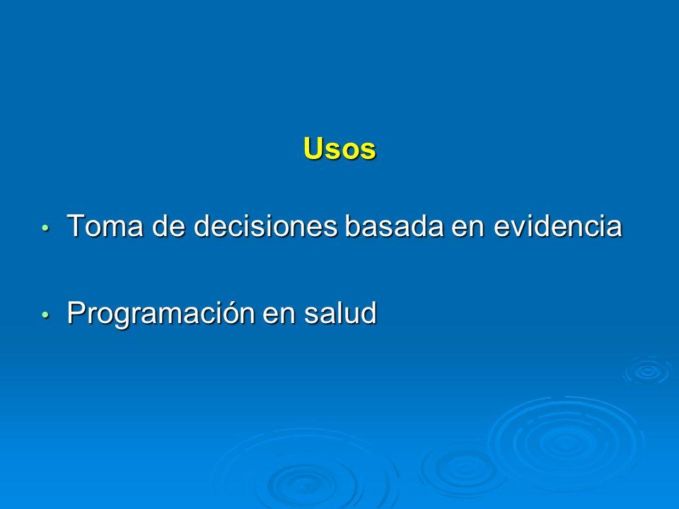 Usos Toma de decisiones basada en evidencia Toma de decisiones basada en evidencia Programación en salud Programación en salud
