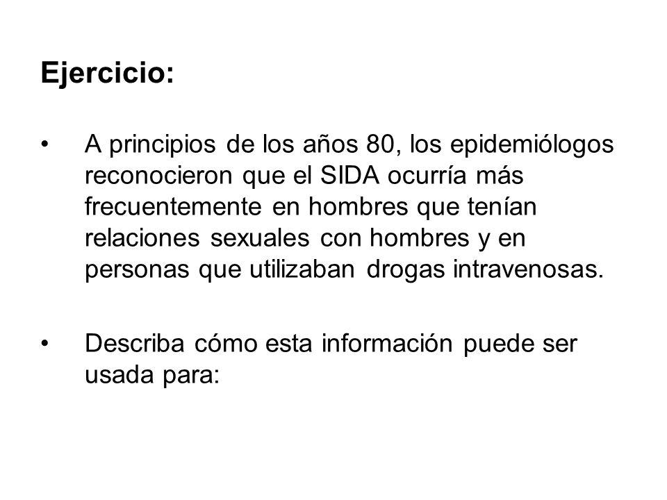 Ejercicio: A principios de los años 80, los epidemiólogos reconocieron que el SIDA ocurría más frecuentemente en hombres que tenían relaciones sexuale
