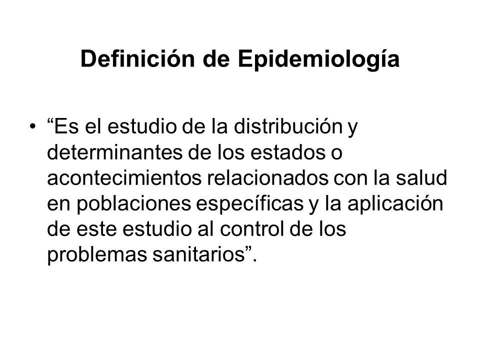 Definición de Epidemiología Es el estudio de la distribución y determinantes de los estados o acontecimientos relacionados con la salud en poblaciones