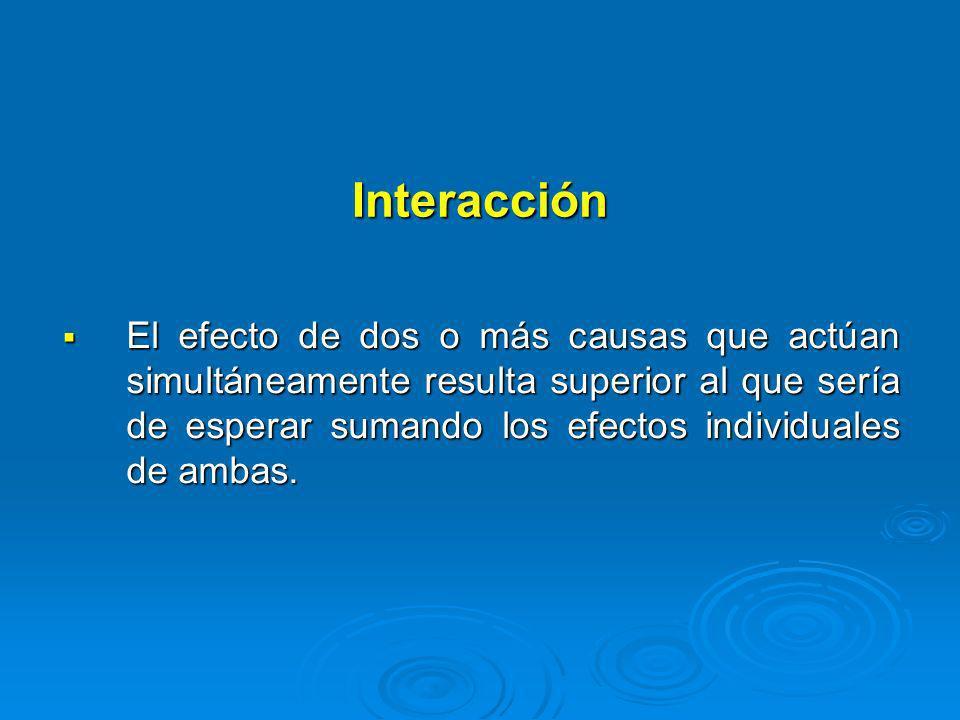 Interacción El efecto de dos o más causas que actúan simultáneamente resulta superior al que sería de esperar sumando los efectos individuales de amba
