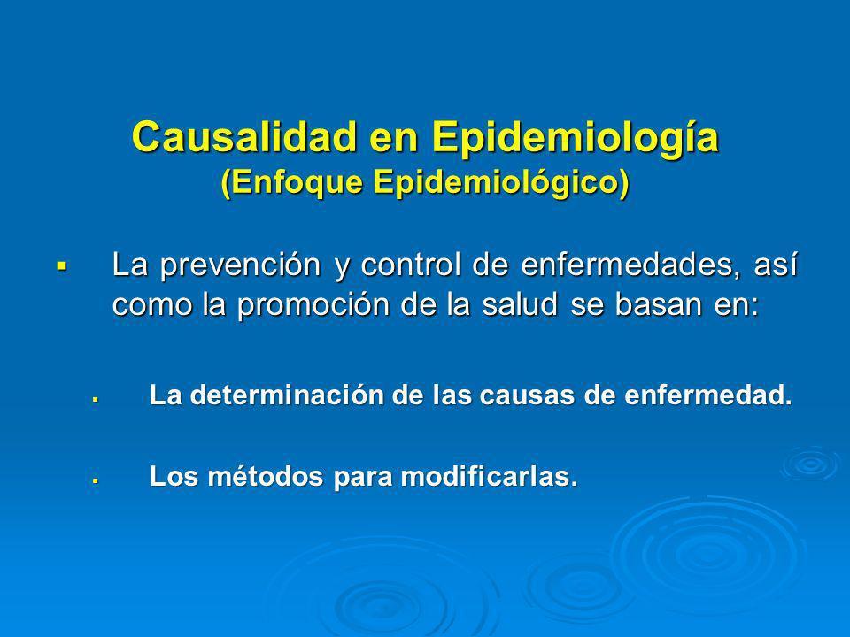 Causalidad en Epidemiología (Enfoque Epidemiológico) La prevención y control de enfermedades, así como la promoción de la salud se basan en: La preven