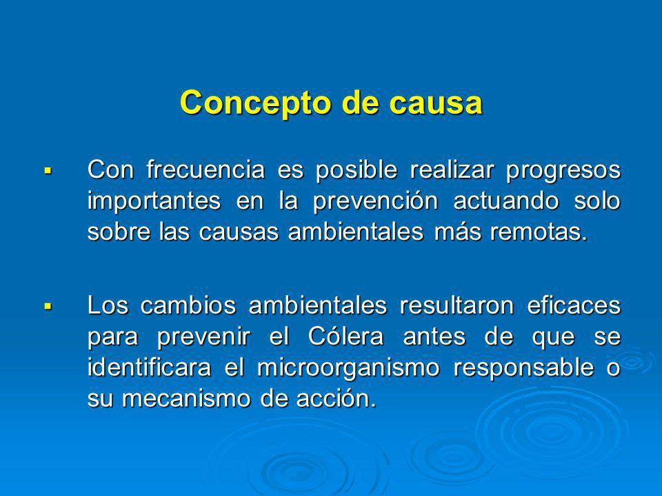 Concepto de causa Con frecuencia es posible realizar progresos importantes en la prevención actuando solo sobre las causas ambientales más remotas. Co