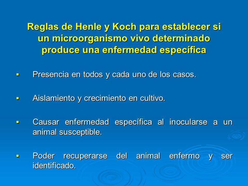 Reglas de Henle y Koch para establecer si un microorganismo vivo determinado produce una enfermedad específica Presencia en todos y cada uno de los ca
