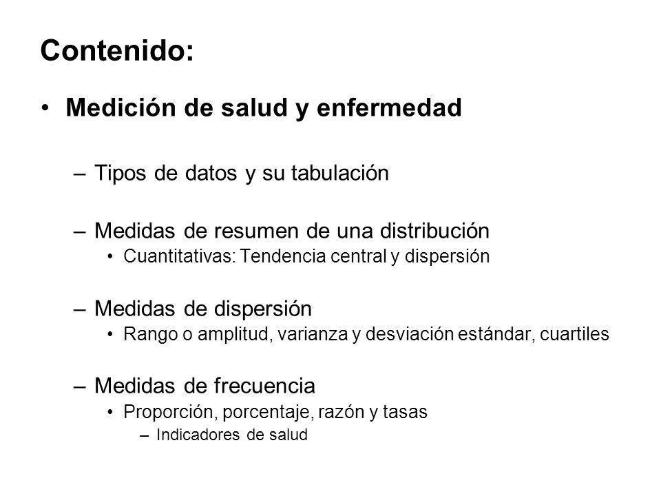Contenido: Medición de salud y enfermedad –Tipos de datos y su tabulación –Medidas de resumen de una distribución Cuantitativas: Tendencia central y d