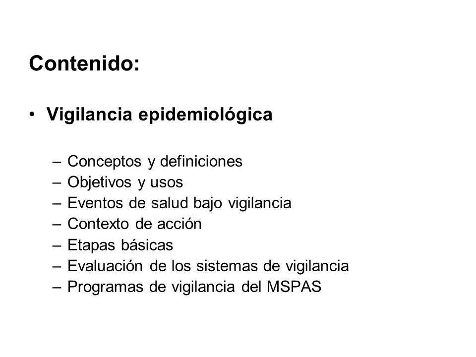 Contenido: Vigilancia epidemiológica –Conceptos y definiciones –Objetivos y usos –Eventos de salud bajo vigilancia –Contexto de acción –Etapas básicas