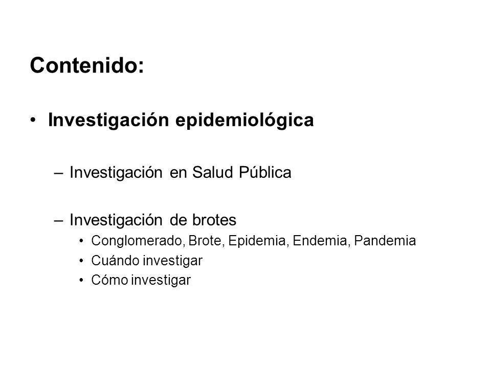 Contenido: Investigación epidemiológica –Investigación en Salud Pública –Investigación de brotes Conglomerado, Brote, Epidemia, Endemia, Pandemia Cuán