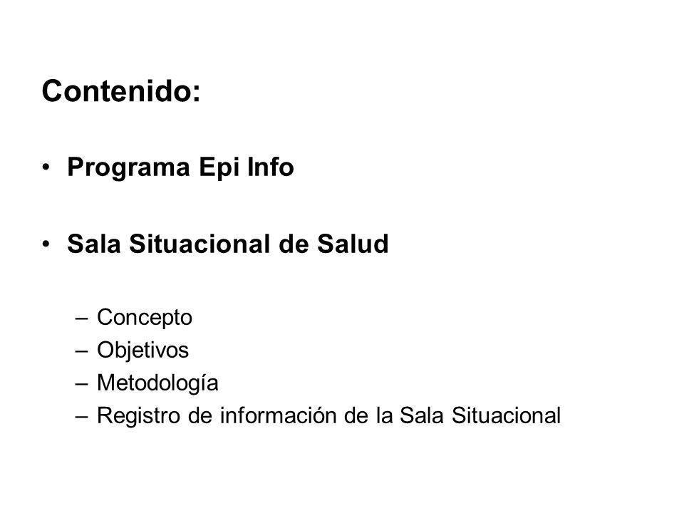 Contenido: Programa Epi Info Sala Situacional de Salud –Concepto –Objetivos –Metodología –Registro de información de la Sala Situacional