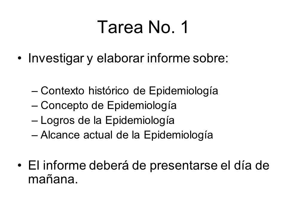 Tarea No. 1 Investigar y elaborar informe sobre: –Contexto histórico de Epidemiología –Concepto de Epidemiología –Logros de la Epidemiología –Alcance