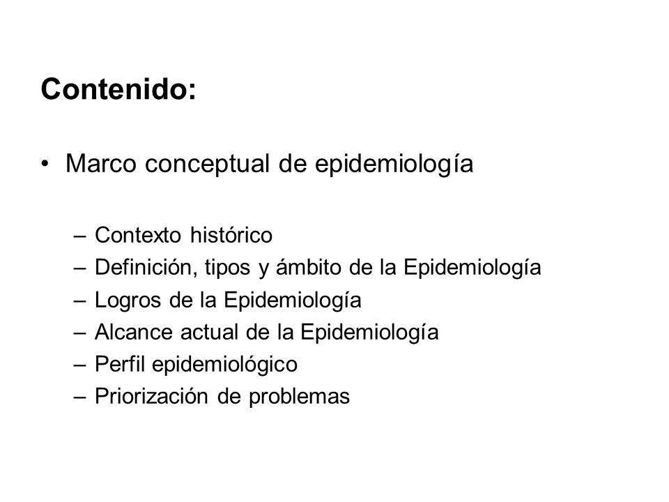 Contenido: Marco conceptual de epidemiología –Contexto histórico –Definición, tipos y ámbito de la Epidemiología –Logros de la Epidemiología –Alcance