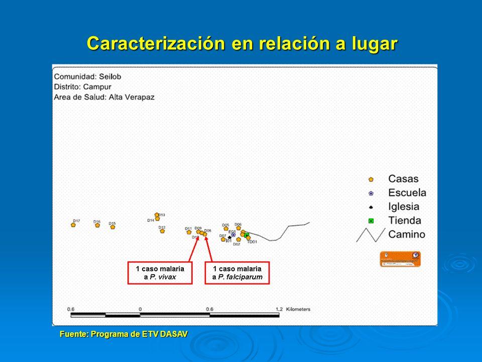Fuente: Programa de ETV DASAV Caracterización en relación a lugar