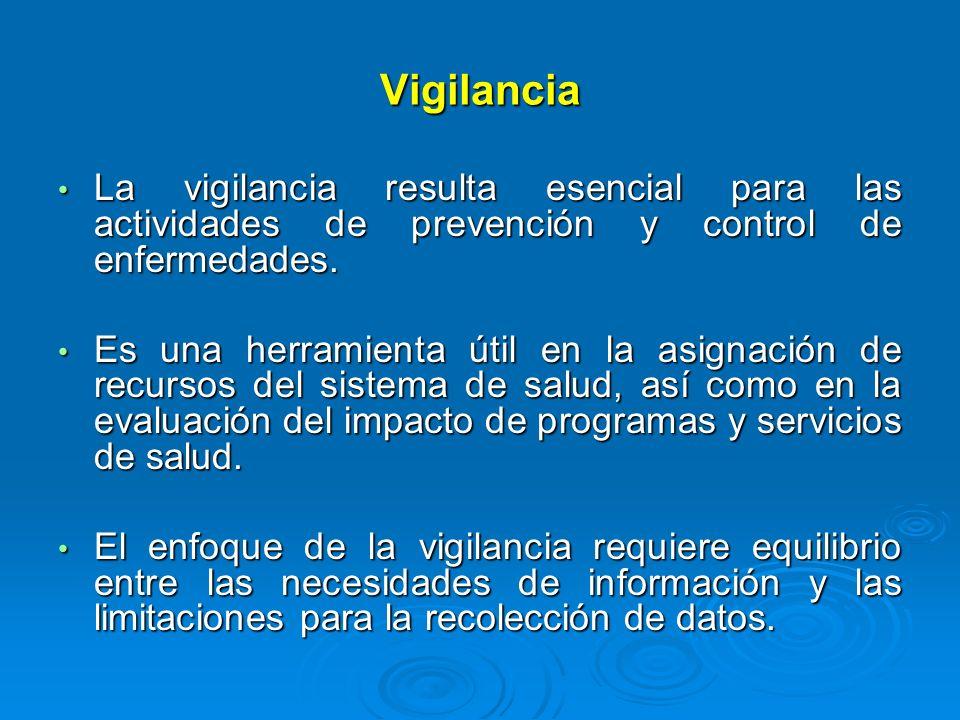 Vigilancia La vigilancia resulta esencial para las actividades de prevención y control de enfermedades. La vigilancia resulta esencial para las activi